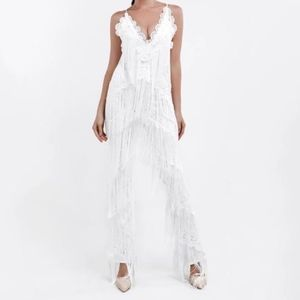 Other - White Fringe Jumpsuit Size Small